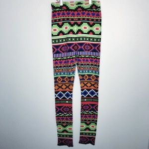 Flying Tomato Neon Aztec Knit Winter Legging M